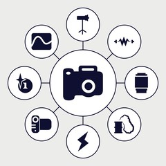 Set of 9 flash filled icons