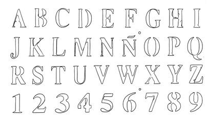 stencil hand written fonts allphabet