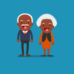 African american people - Retired elderly senior age couple in creative flat vector character design | Grandpa and grandma standing full length smiling