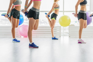 Active girls in light gym