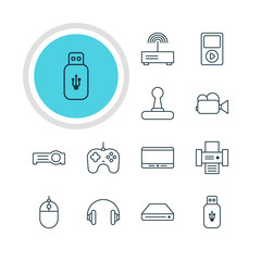 Vector Illustration Of 12 Accessory Icons. Editable Pack Of Media Controller, Usb Card, Headset And Other Elements.