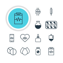 Vector Illustration Of 12 Medical Icons. Editable Pack Of Vaccinator, Heart Rhythm, Vial And Other Elements.