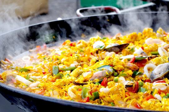 Traditional Spanish Paella Street Food