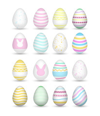 Set 16 of colorful realistic easter eggs.