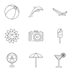 Journey to sea icons set, outline style