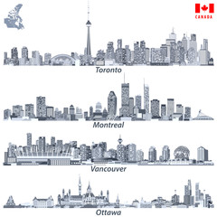 Toronto, Montreal, Vancouver and Ottawa skylines in tints of blue color palette with map and flag of Canada