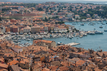 Croatian architecture in the old city of Rovini on the mediterranean coast. Panoramic view