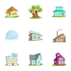 Housing icons set, cartoon style