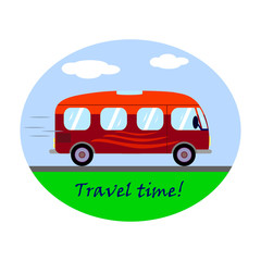 Icon with travel red bus. Vintage travel bus concept in flat style, vector illustration