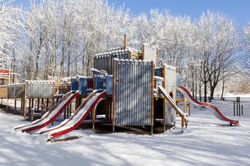 Playground in snow