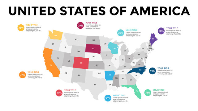 USA map infographic. Slide presentation. United States of America. Global business marketing concept. Color country. World transportation data. Economic statistic template.