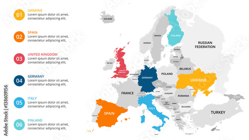Europe map infographic slide presentation global business europe map infographic slide presentation global business marketing concept color country world gumiabroncs Choice Image