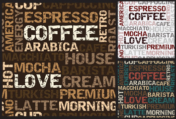 coffee seamless pattern with coffee words vector