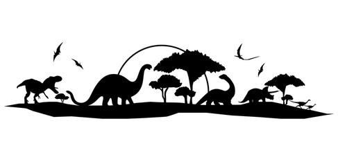 handmade dinosaur landscape vector design