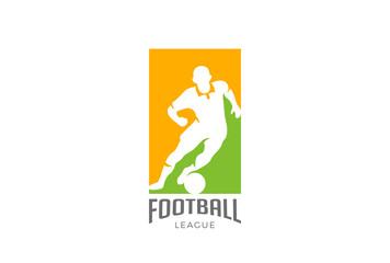 Football player hit ball Logo vector. Soccer Sport icon