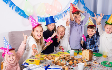 revelers children having a good time at a birthday party