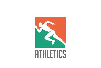 Athlete runner Logo design vector. Sport Athletics running icon