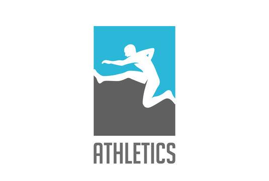Athlete running obstacles Logo vector. Sport Athletics icon