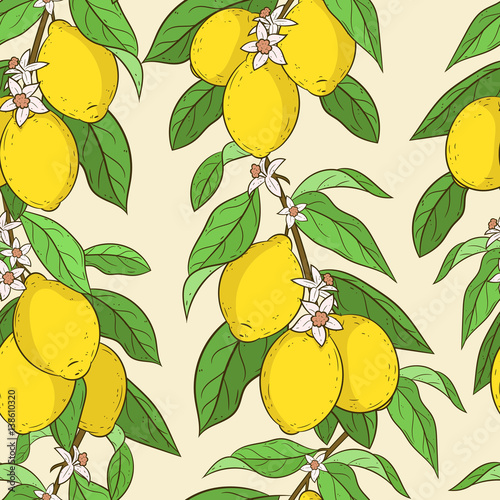 Seamless Pattern With Lemons Cute Vector Backround Cartoon Style