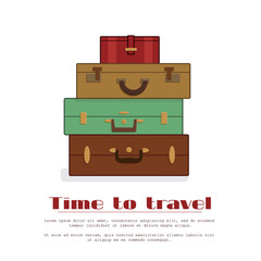 Stack of old shabby suitcases for travel agency, hotel banner, card