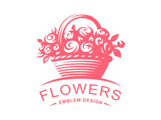 Rose basket logo - vector illustration, emblem design on white background
