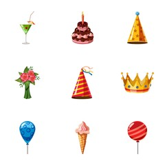 Holiday birthday icons set, cartoon style