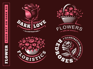 Set flowers logo - vector illustration, emblem design on dark background