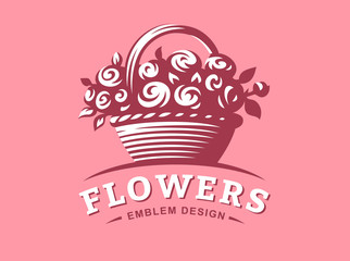 Rose basket logo - vector illustration, emblem design on pink background