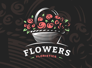 Rose basket logo - vector illustration, emblem design on dark background