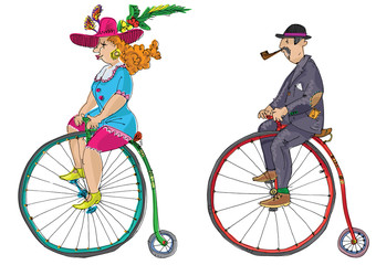 penny farthing - cartoon. vintage bicycle
