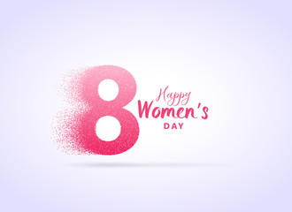creative woman's day design with letter 8 made with particles