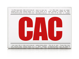 Stock market indexes concept: newspaper headline CAC