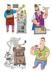 a coffee linked set - cartoon