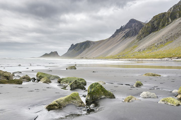 Beautiful Stokksnes Peninsula with view to Atlantic ocean and Vestrahorn mountain. East Iceland.
