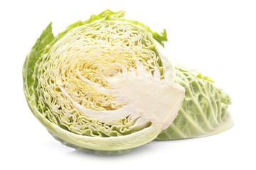 Wall Mural - Green cabbage isolated on white background
