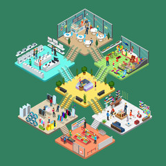 Flat isometric Shopping mall interior vector. 3d leisure