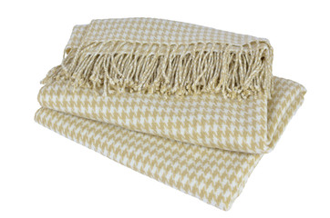 Woolen blanket with beige and white hounds-tooth pattern and with heather on white