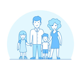 Linear Flat couple children vector. Parenting family value