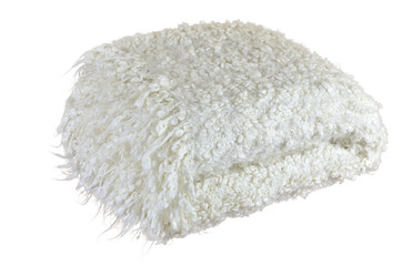 White soft woolen blanket with heather and with cozy look on white background