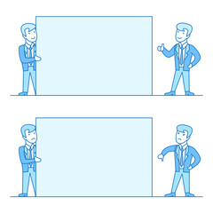 Linear Flat Business men hold white blank information vector