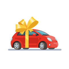 Vector illustration red car with bow flat style on white background. Concept design gift automobile.