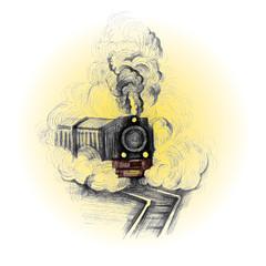 retro train, vintage symbol, emblem, label template