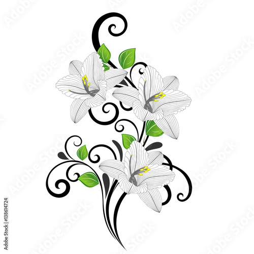 Beautiful Hand Drawing Floral Background With Green Leaves And