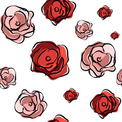 Seamless floral pattern. Red roses on a white background. Floral pattern with large flowers.