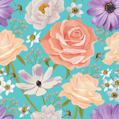 Elegance seamless color flower pattern with roses. EPS 10