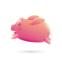 Pig with wing. vector illustration.