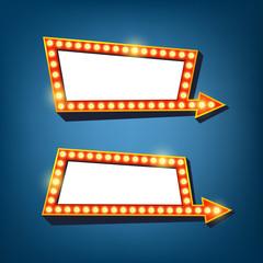 Retro light frames with arrow. Electric bulbs billboard. Vector illustration.