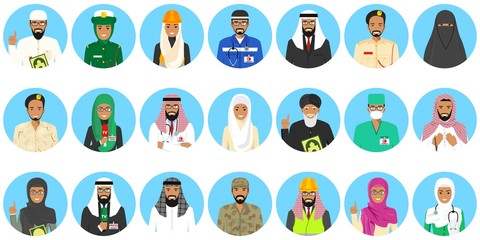Different muslim Middle East people professions occupation characters avatars icons set in flat style isolated on blue background. Differences islamic saudi arabic persons smiling faces. Vector