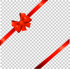 red ribbon bow for packaging, postcards, on a transparent background