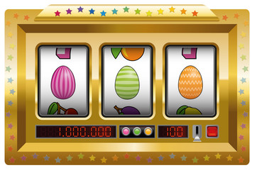 Easter egg slot machine. Isolated vector illustration on white background.